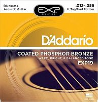 Струны для акуст. гитары, L. Top/M. Bottom/Bluegrass, 12-56, D'Addario EXP19 Coated Phosphor Bronze