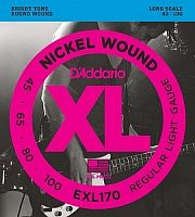 Струны для бас-гитары D`Addario EXL170 XL NICKEL WOUND Long Regular Light