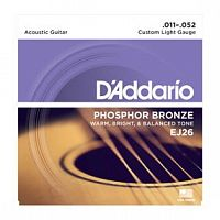 Струны D`Addario EJ26 Phosphor Bronze, Custom Light, 11-52