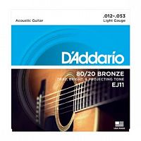 Струны D`Addario EJ11 80/20 Bronze Acoustic Guitar Strings, Light, 12-53