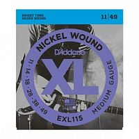 Струны D`Addario EXL115 Nickel Wound, Medium/Blues-Jazz Rock, 11-49