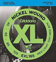 Струны для бас-гитары Long Regular Ligth Top Medium Bottom 45-105 D`Addario EXL165 XL NICKEL WOUND