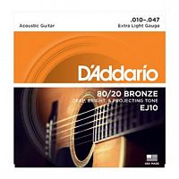 Струны D`Addario EJ10 Bronze Acoustic Guitar Strings, Extra Light, 10-47