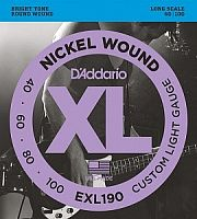 Струны для бас-гитары D`Addario EXL190 XL NICKEL WOUND Long Custom Light