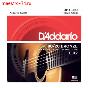 Струны D`Addario EJ12 8012 Bronze Acoustic Guitar Strings, Medium, 13-56