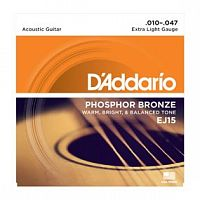 Струны D`Addario EJ15 Phosphor Bronze, Extra Light, 10-47