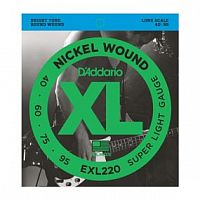Струны D`Addario EXL220 Nickel Wound Bass, Super Light, 40-95, Long Scale